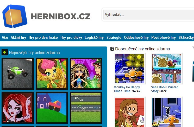 Online hry - herní box