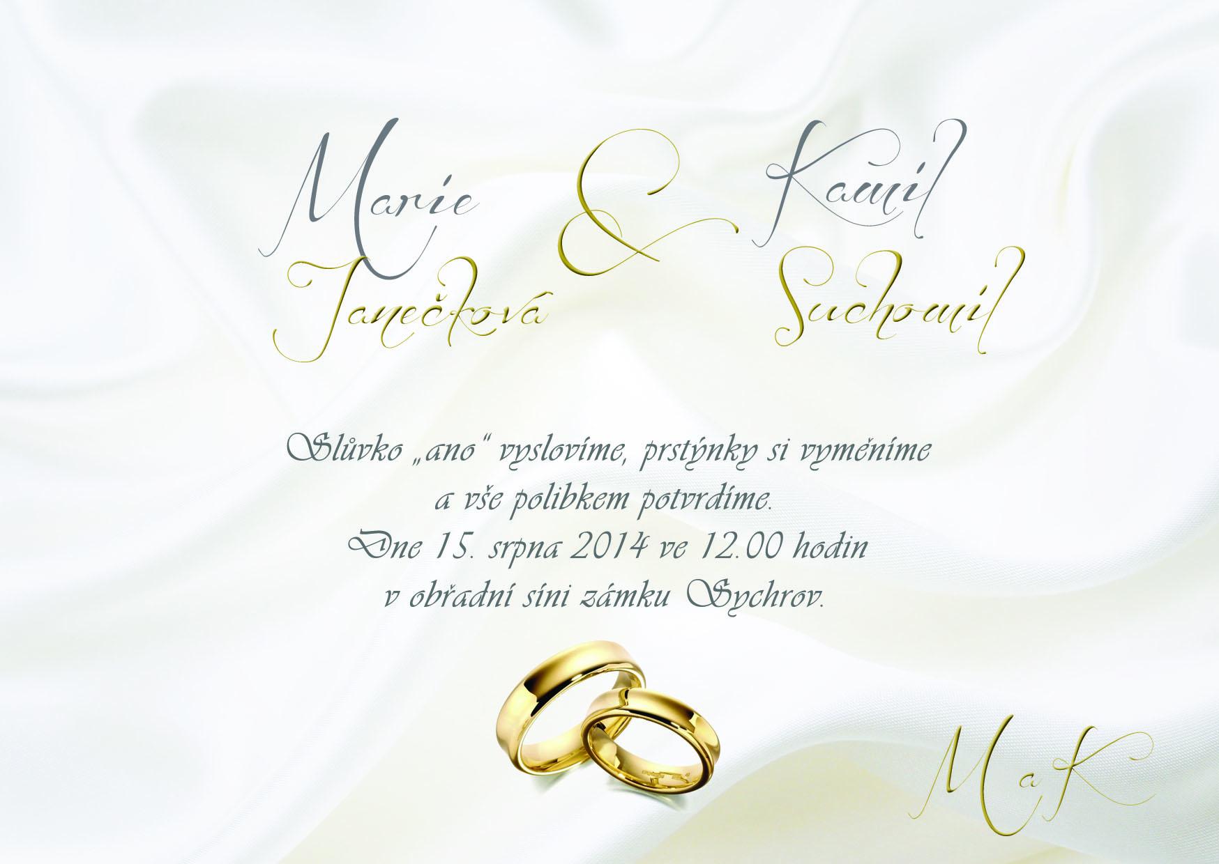 Krásné a levné svatební oznámení