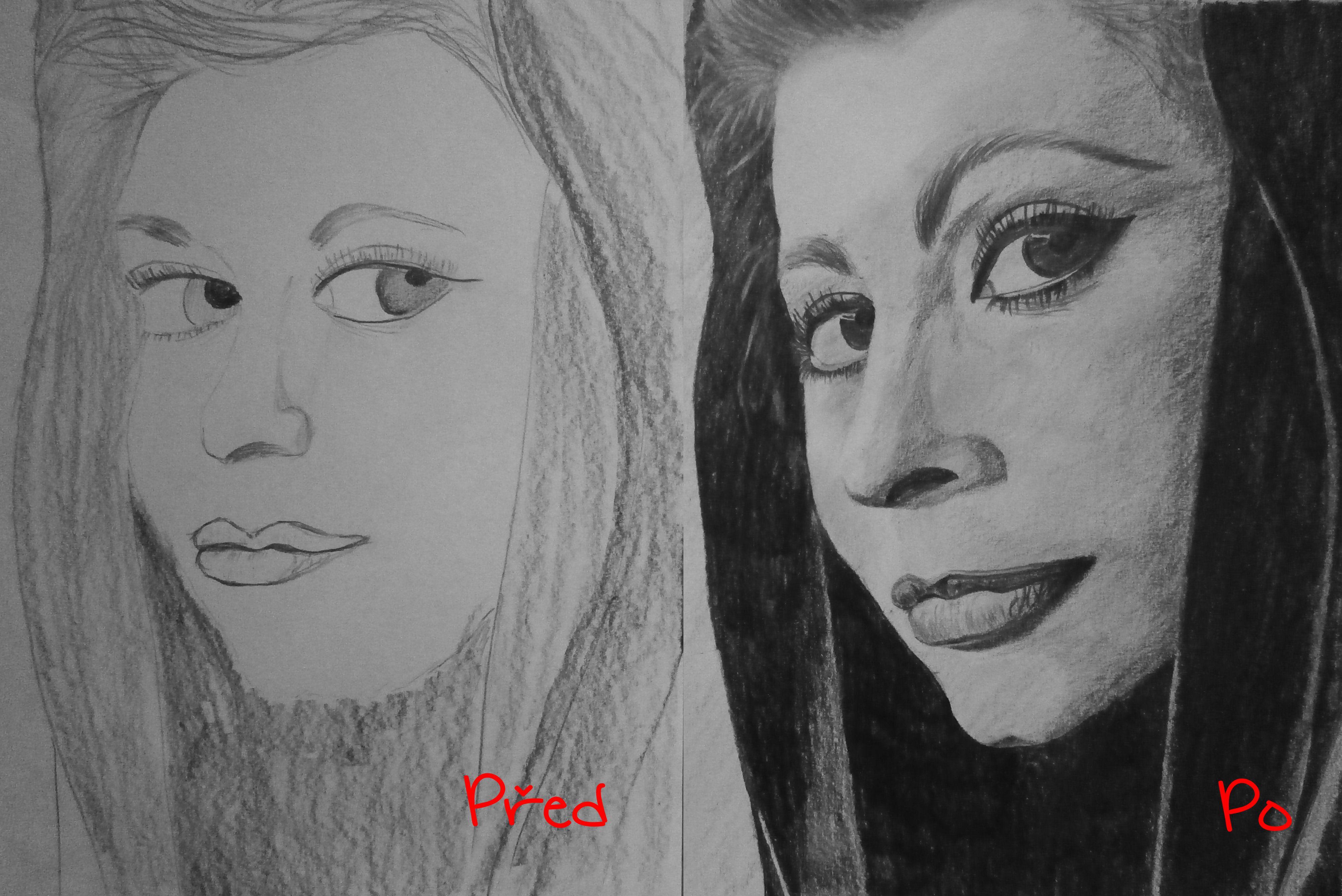 Obrázek vlevo nakreslil účastník v sobotu ráno, obrázek vpravo stejný člověk v neděli.